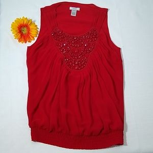 Cache red sleeveless beaded top - XS